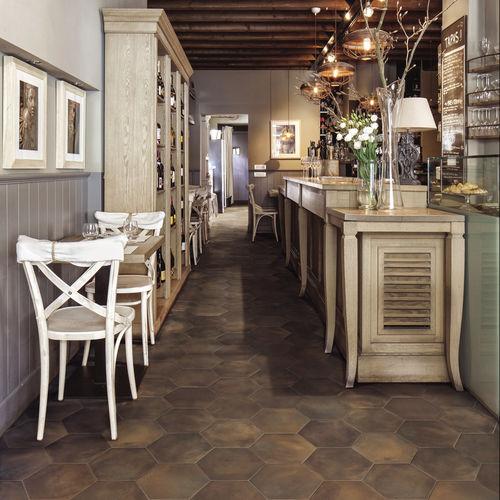 indoor tile / for floors / porcelain stoneware / hexagonal
