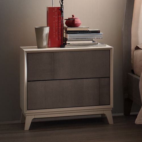 contemporary bedside table / lacquered wood / ash / metal