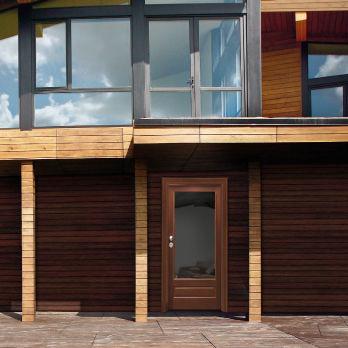 entry door / swing / wooden / aluminum