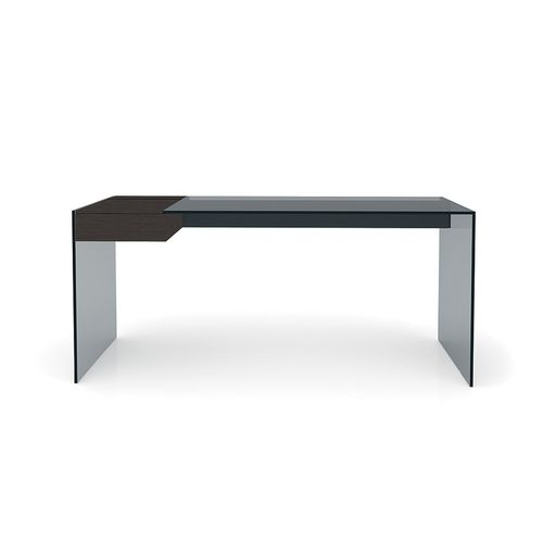 ash desk / aluminum / stainless steel / glass