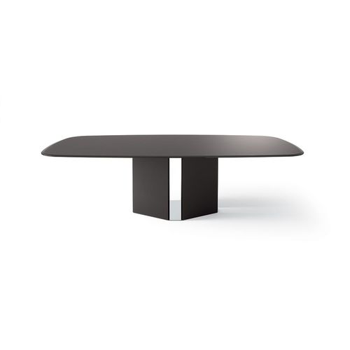 contemporary boardroom table / wooden / glass / stainless steel