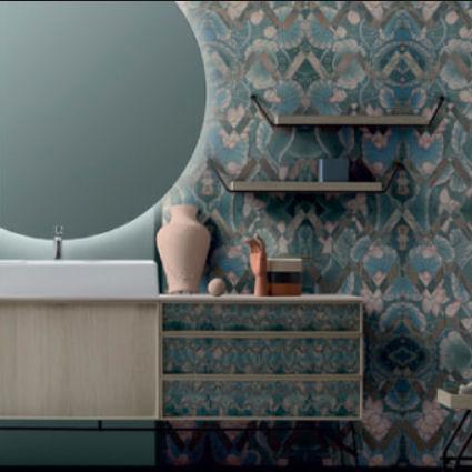 wall-mounted washbasin cabinet / wooden / glass / stone