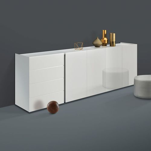 contemporary sideboard / solid wood / lacquered aluminum