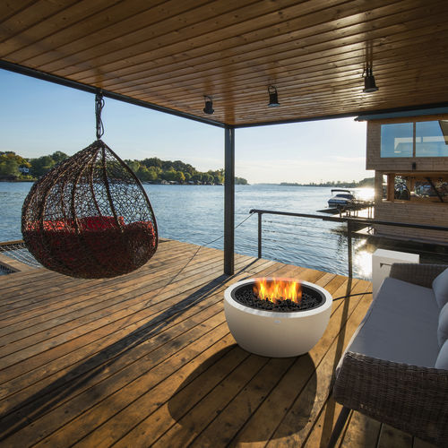 bioethanol fire pit / stainless steel / concrete / contemporary