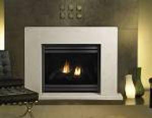 Contemporary fireplace mantel / stone - LUNA - HEAT & GLO