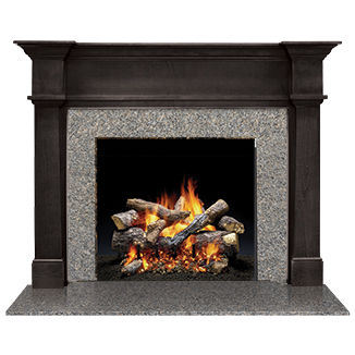 contemporary fireplace surround / granite / wooden