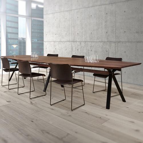 contemporary table / walnut / oak / metal