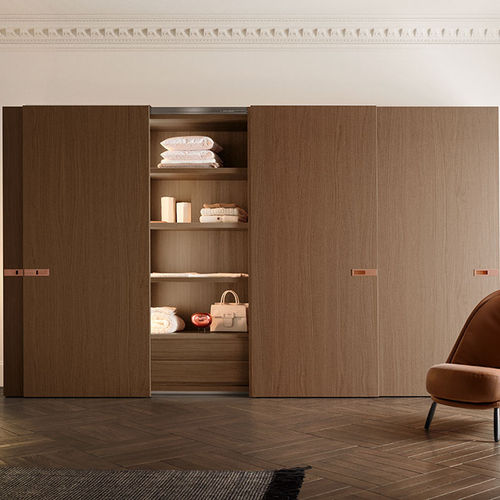 corner wardrobe / contemporary / glossy lacquered wood / sliding door