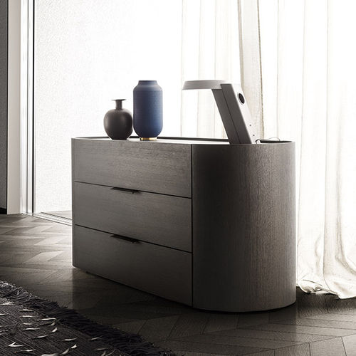 contemporary chest of drawers / lacquered wood / for hotel rooms / brown