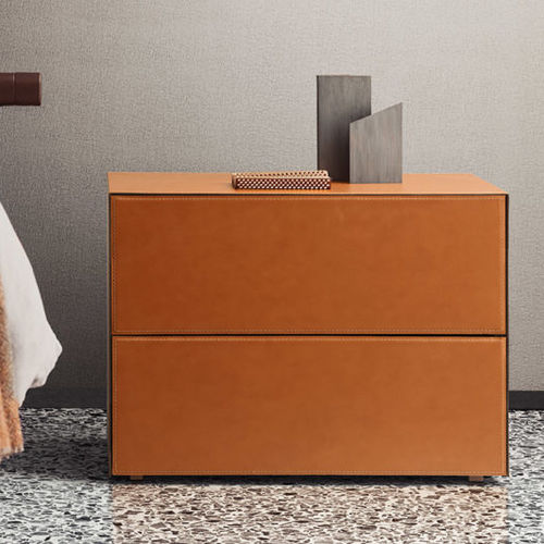 contemporary bedside table / lacquered wood / leather / rectangular