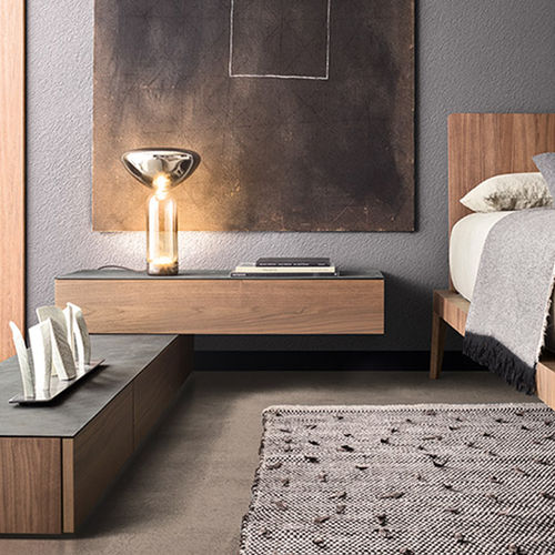 contemporary bedside table / lacquered wood / glass / stone