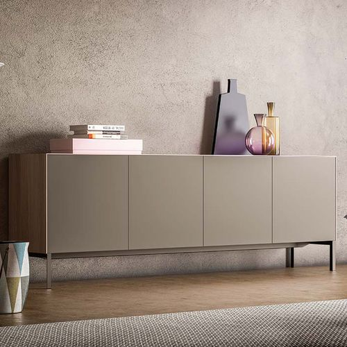 contemporary sideboard / lacquered wood / solid wood / gray