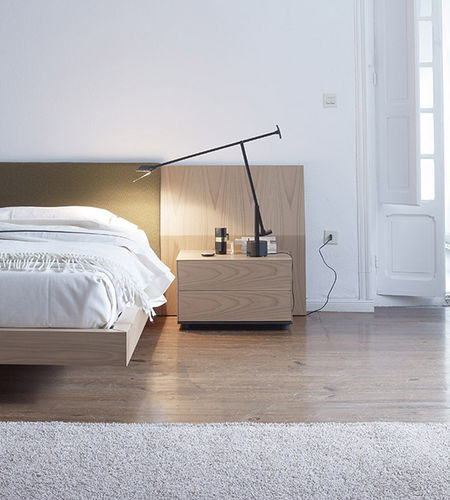 contemporary bedside table / lacquered wood / oak / walnut
