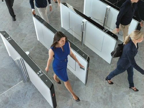 half-height turnstile / for access control / glass / steel