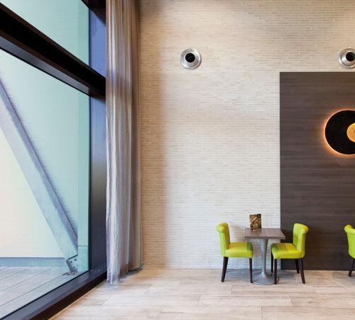 ceramic cladding brick / for facades / interior / embossed