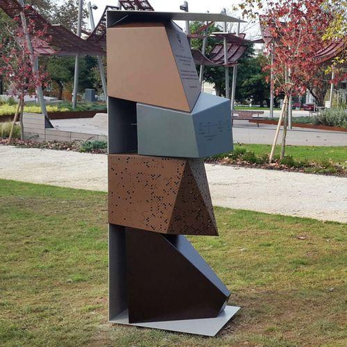Metal sculpture / COR-TEN® steel / for public spaces / for public buildings BPLAN