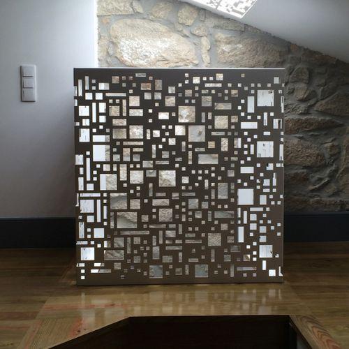 metal decorative panel / for interior / backlit / textured