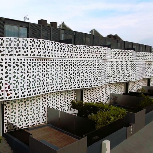 Aluminum cladding / perforated / lacquered / panel BPLAN
