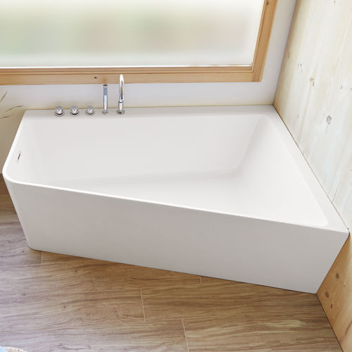 corner bathtub / fiberglass / double / deep