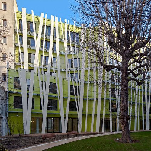fiber-reinforced concrete solar shading / for facades / vertical / rigid