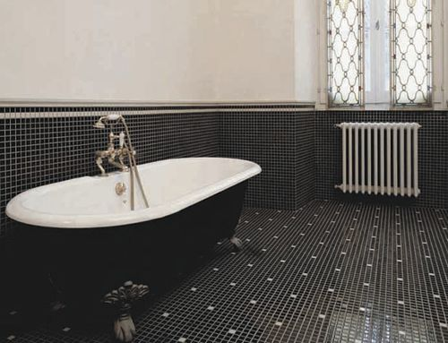 indoor mosaic tile / bathroom / floor / ceramic