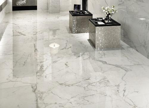 indoor tile / floor / porcelain stoneware / polished