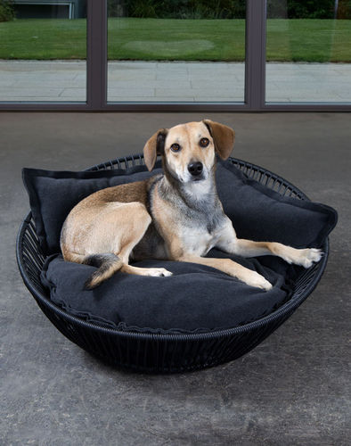 resin wicker dog basket / stainless steel / with removable cushion