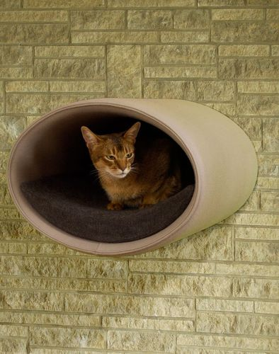 felt cat bed / stainless steel / with removable cushion / high