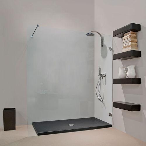 rectangular shower base / ceramic / flush