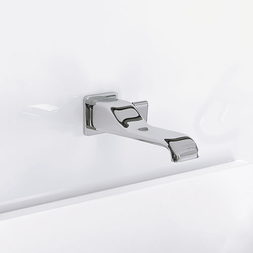washbasin mixer tap / wall-mounted / chromed metal / brass