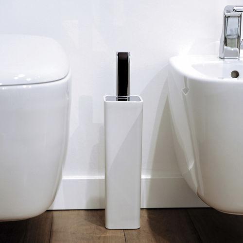 brass toilet brush / ceramic / chrome / floor