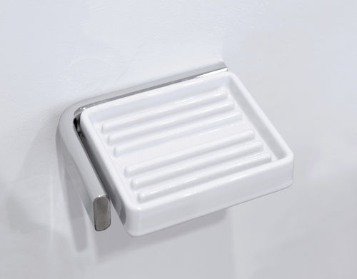 wall-mounted soap dish / ceramic / brass / chrome