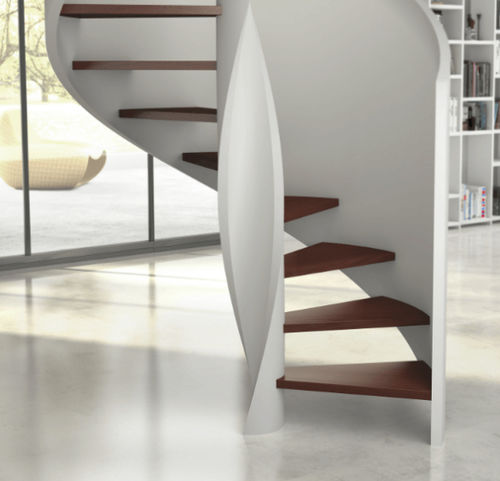 helical staircase / wooden frame / wooden steps / without risers