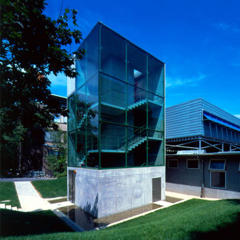 prefab building / modular / steel / glass