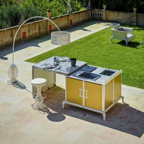 Contemporary kitchen / powder-coated steel / porcelain / outdoor ISLAND Samuele Mazza by DFN srl