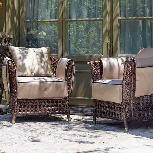traditional armchair / rattan / aluminium / garden