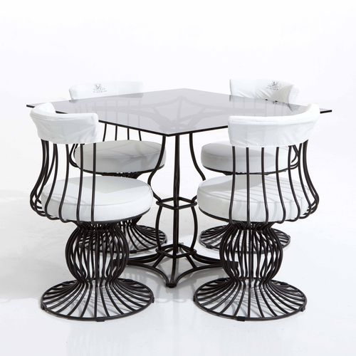 traditional table / glass / iron / marble
