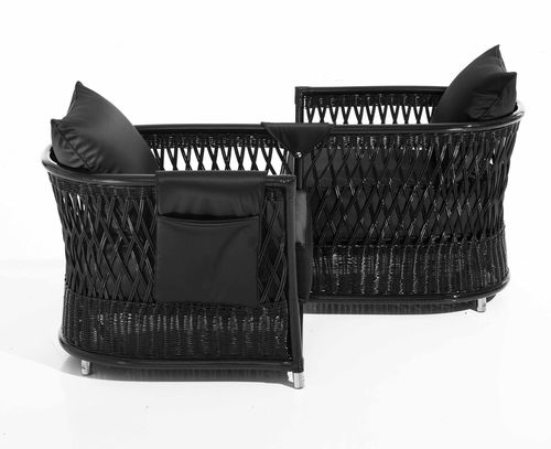 Conversation armchair / contemporary / double / rattan VEGA  Samuele Mazza by DFN srl