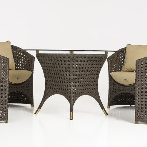 traditional table / glass / aluminum / resin wicker