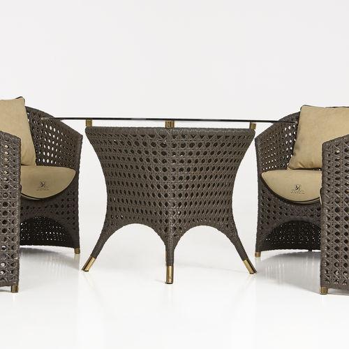 Contemporary table / resin wicker / round / garden WEZEN by Samuele Mazza Samuele Mazza by DFN srl