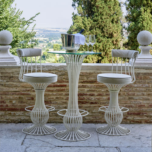 Traditional high bar table / glass / marble / ceramic SIRIO Samuele Mazza by DFN srl
