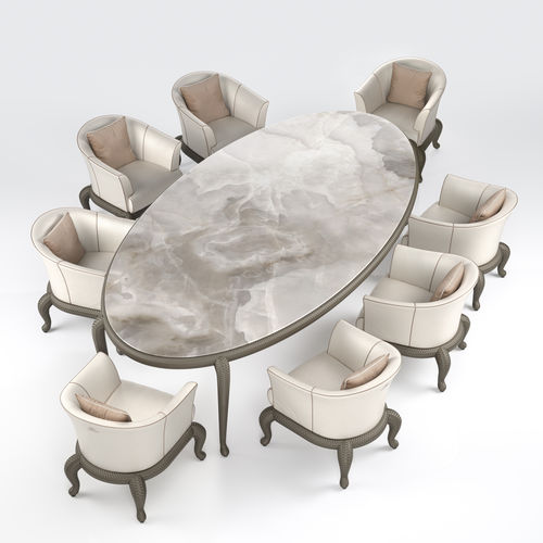 Traditional dining table / marble / ceramic / lacquered glass CANOPO  Samuele Mazza by DFN srl
