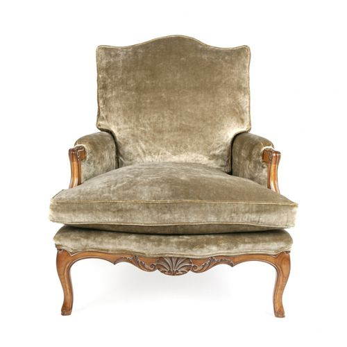 french style armchair / fabric / leather / bergere