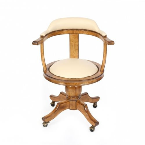 traditional office chair / with armrests / upholstered / on casters