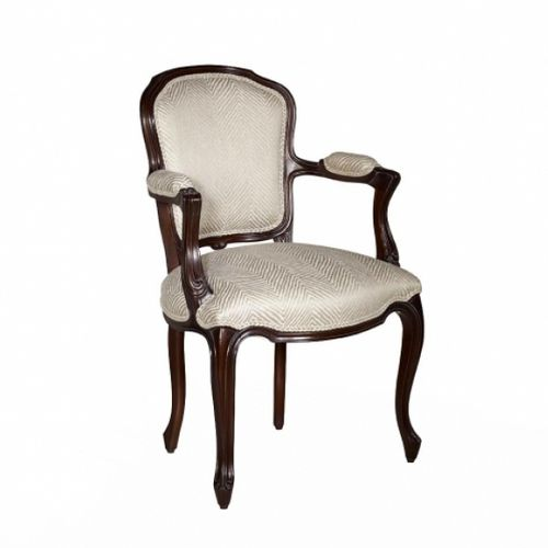 french style dining chair / upholstered / with armrests / fabric