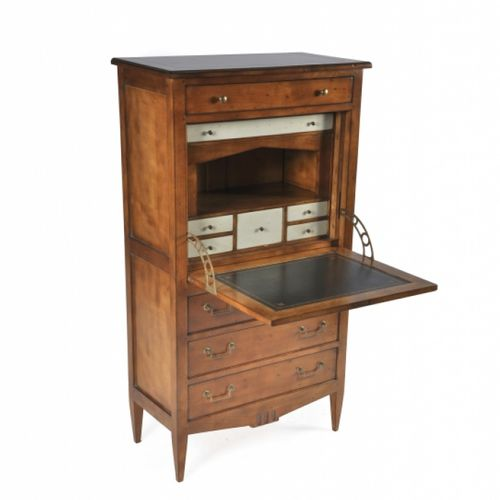 traditional secretary desk / oak / leather / marble