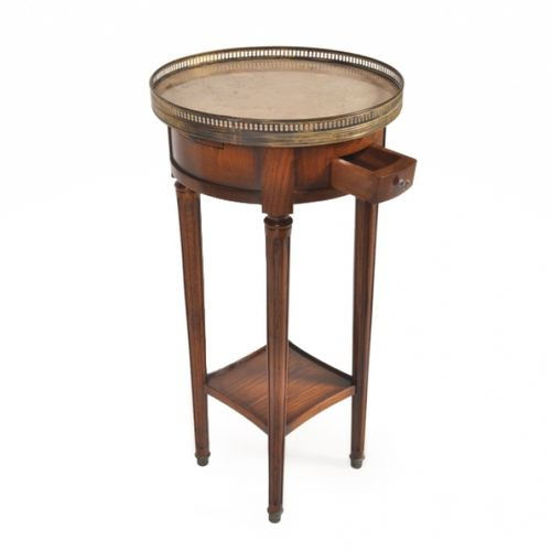 traditional side table / glass / leather / marble