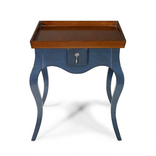 traditional side table / leather / stone / oak