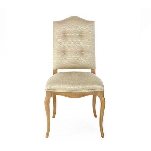 traditional dining chair / upholstered / with armrests / fabric