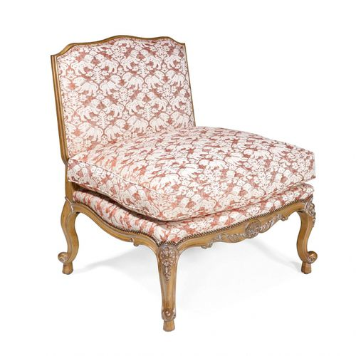 french style fireside chair / fabric / leather / oak